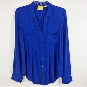 Anthropologie Maeve Pleated Button Down Blouse